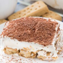 no bake shortbread tiramisu dessert on a White plate