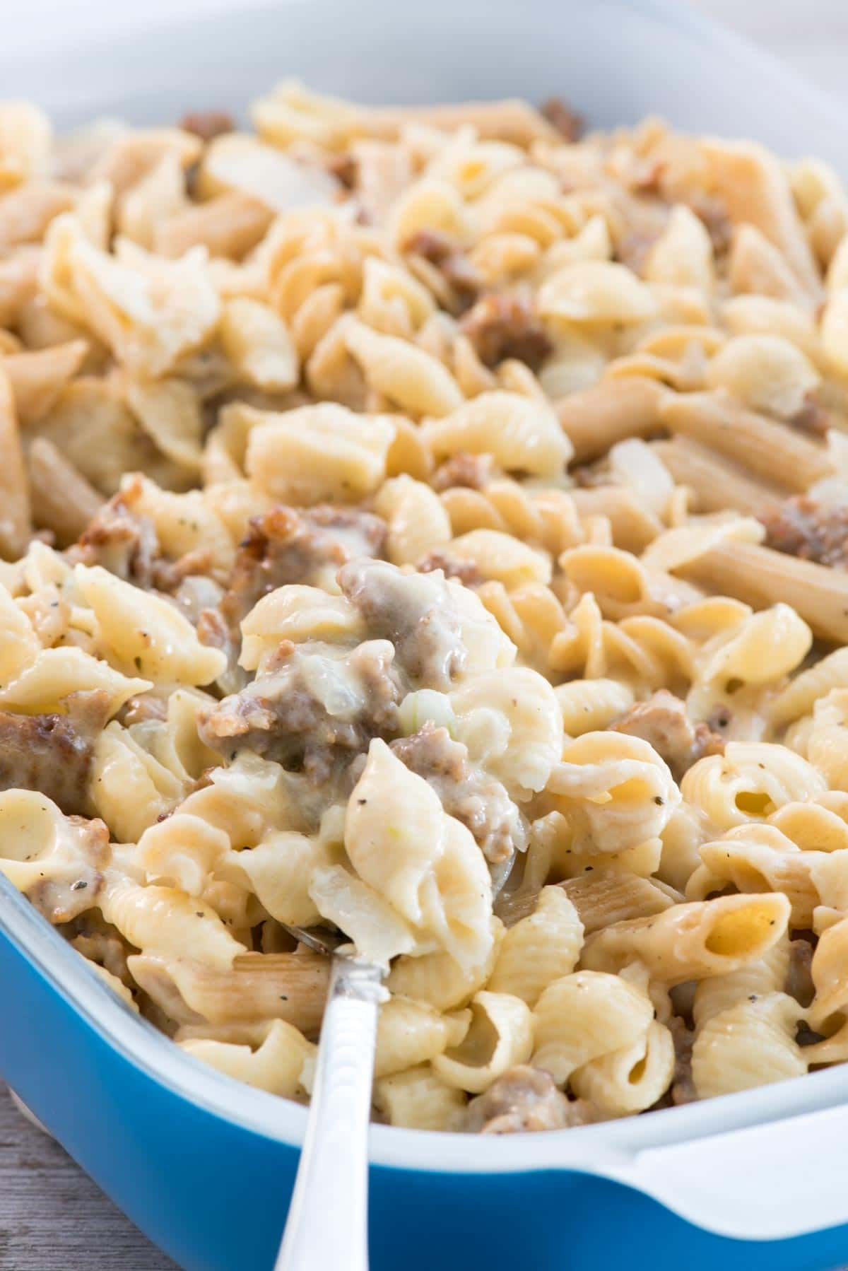 Sausage Mac & Cheese - this EASY macaroni and cheese recipe is full of Italian sausage! It's the perfect comfort food.