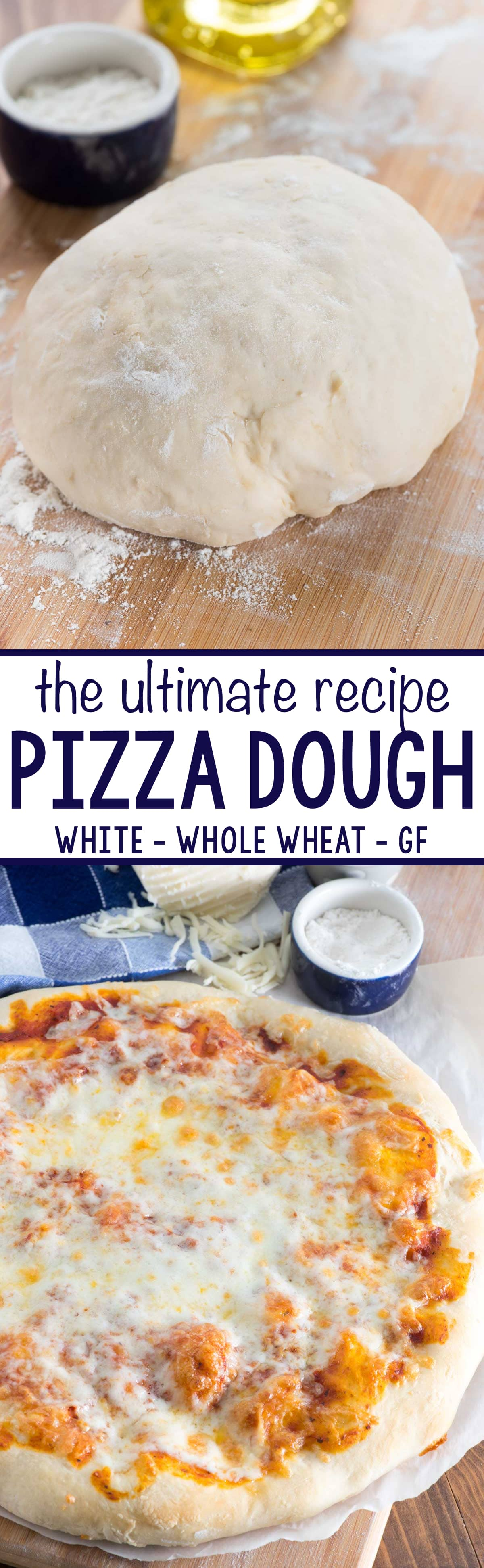 This is the ULTIMATE Pizza Dough Recipe! This easy pizza crust recipe can be made thick, thin, or personal sized with whole wheat or gluten free flour. You can make a baked pizza crust or a grilled pizza recipe. Top it with whatever you like for the best dinner, or make a dessert pizza!
