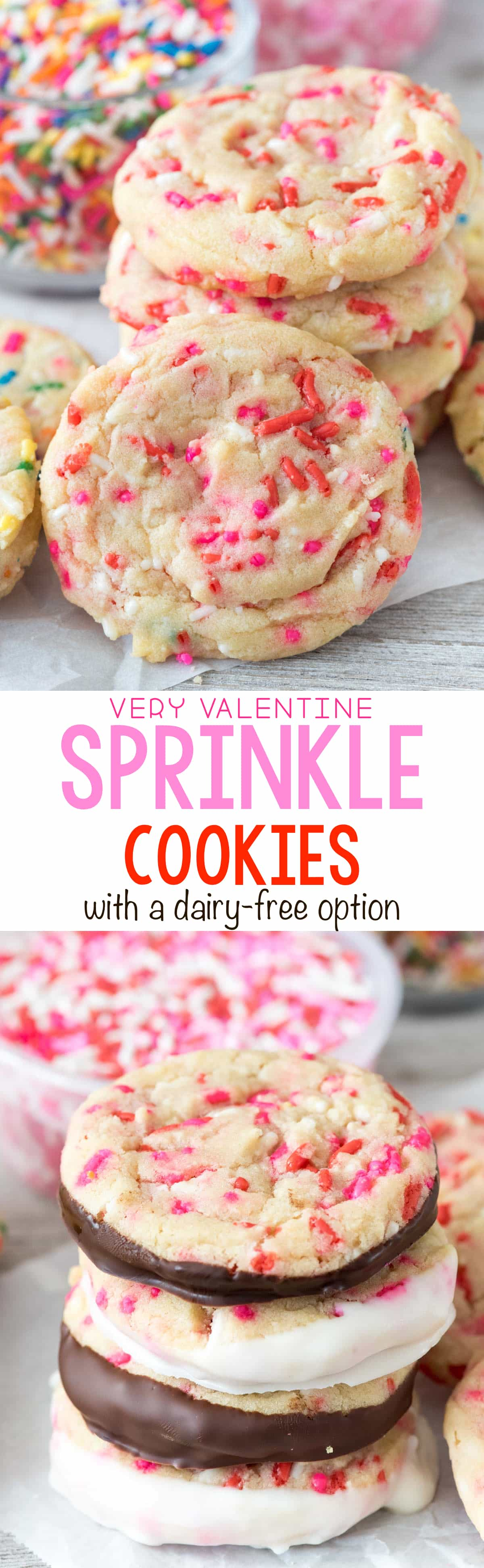 Valentine Sprinkle Cookies - this easy sugar cookie recipe is full of sprinkles and is perfect for Valentine's Day! EVERYONE loves these cookies!