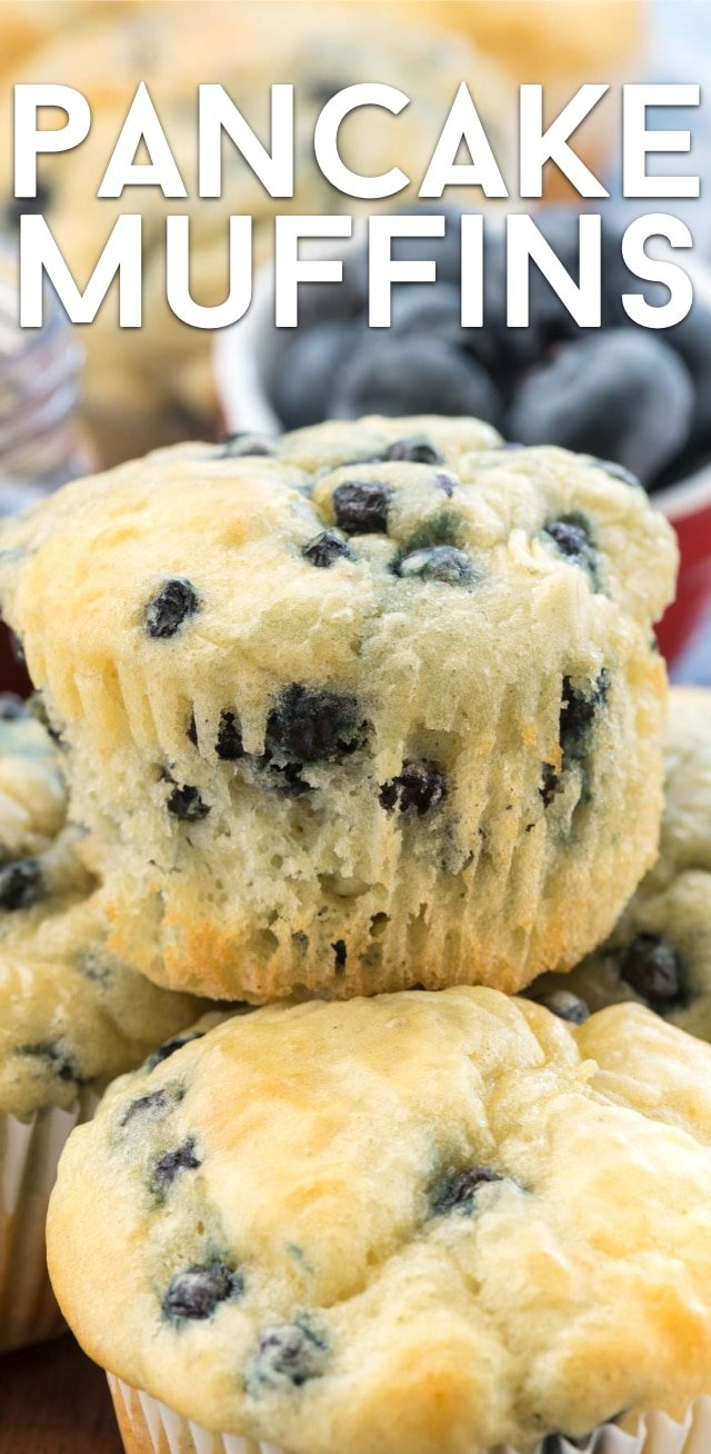 blueberry pancake muffin on stack of muffins