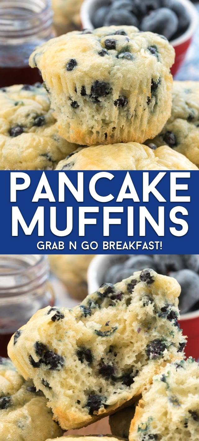 collage of pancake muffin photos