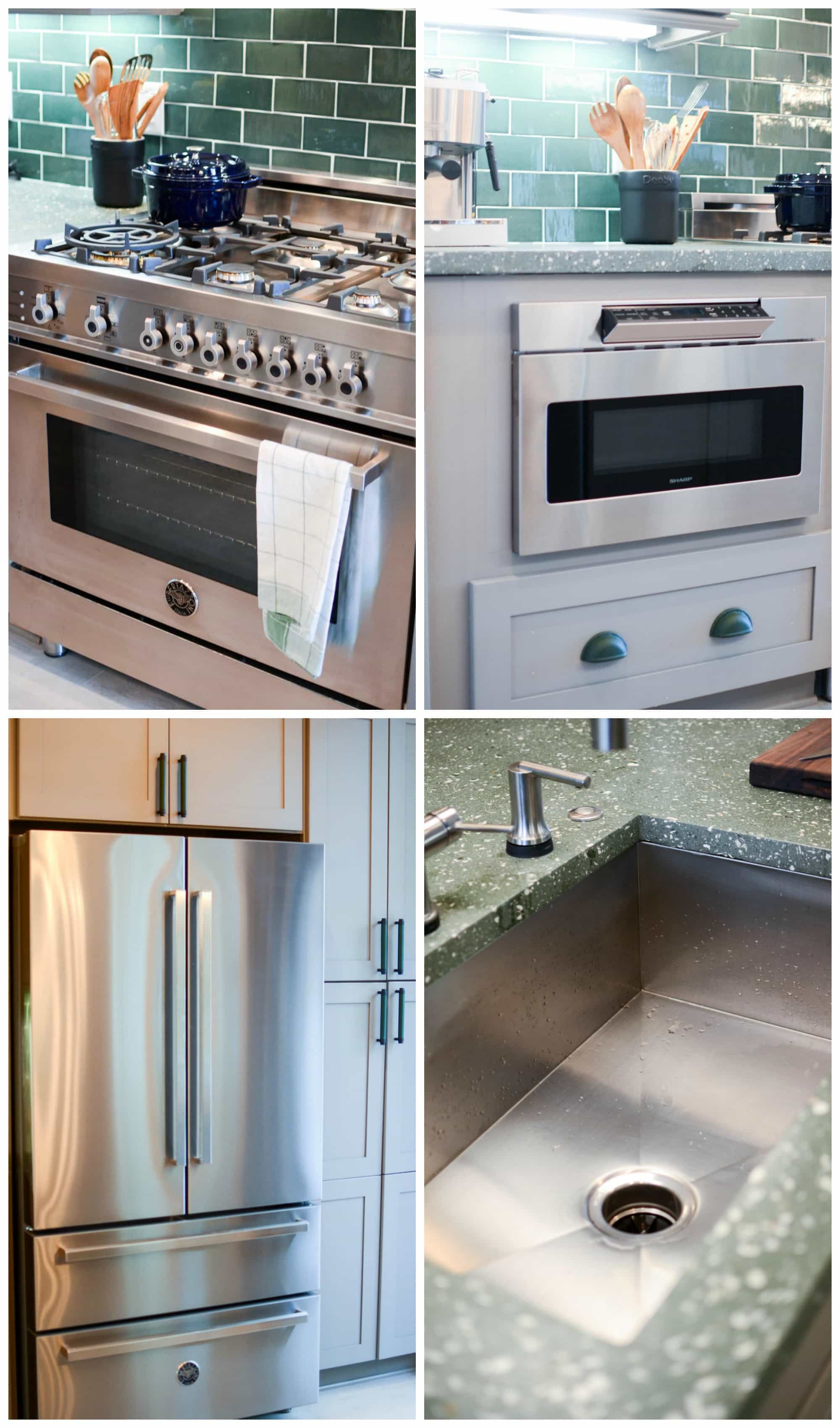 7 Tips for decorating a GREEN kitchen: stainless steel appliances look best with the rich green color.