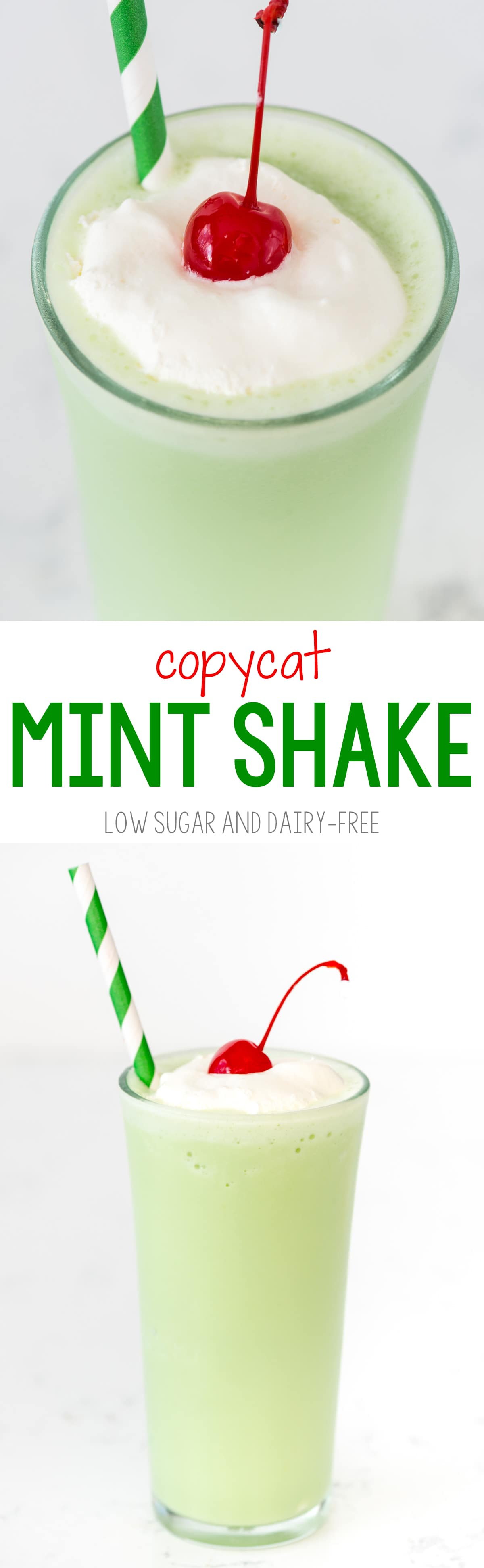 Mint Shake - this popular copycat shake recipe is made dairy-free and lower sugar! It's an EASY milkshake recipe that is perfect for mint lovers.