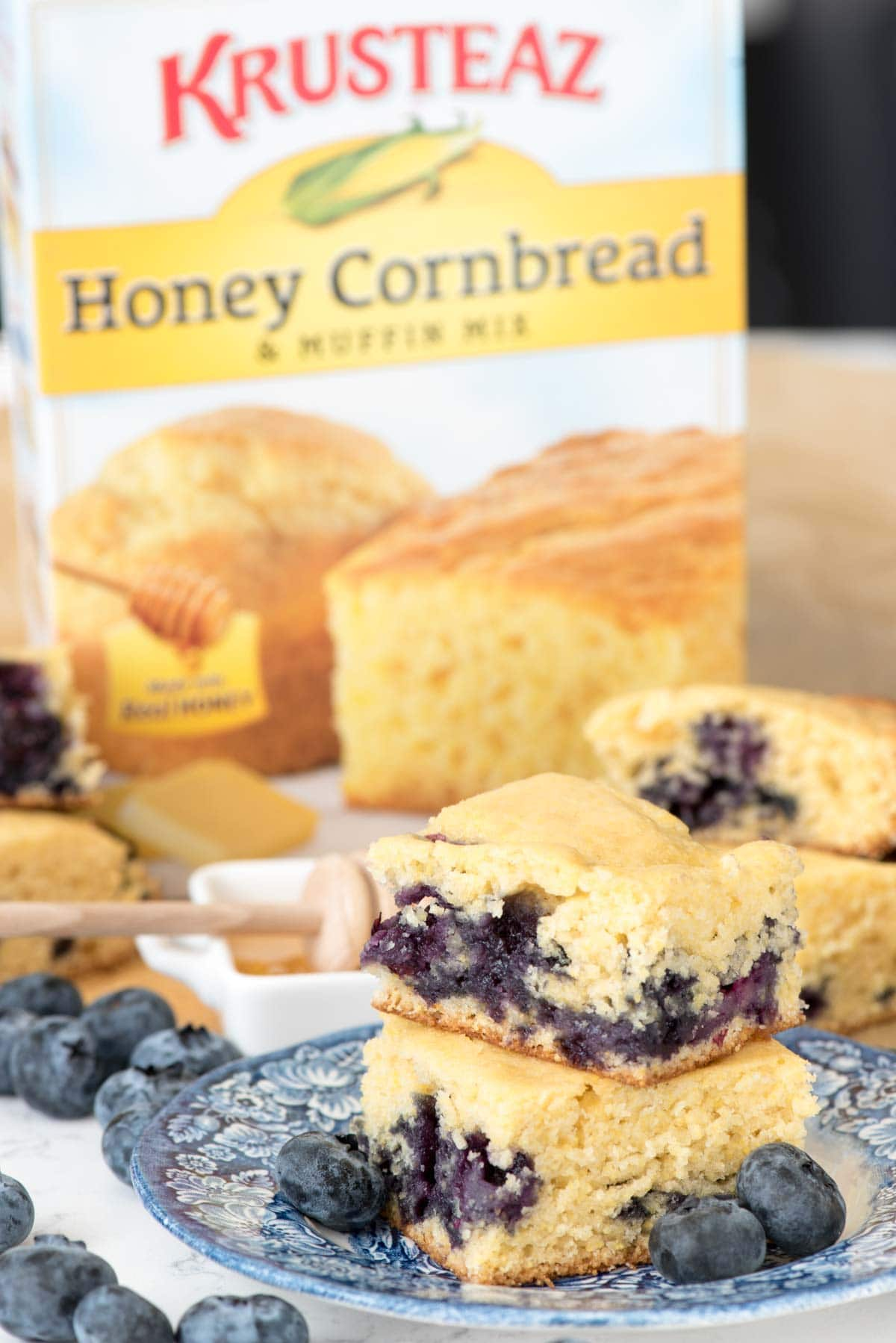 EASY Blueberry Cornbread - this cornbread recipe starts with a doctored mix.