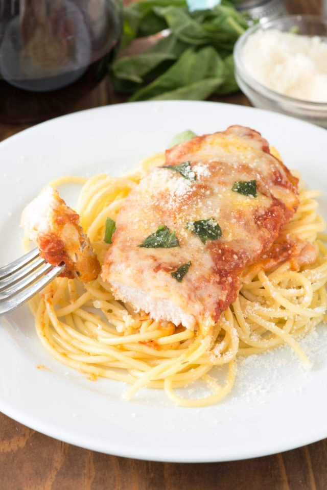 Easy Chicken Parmesan on a white plate