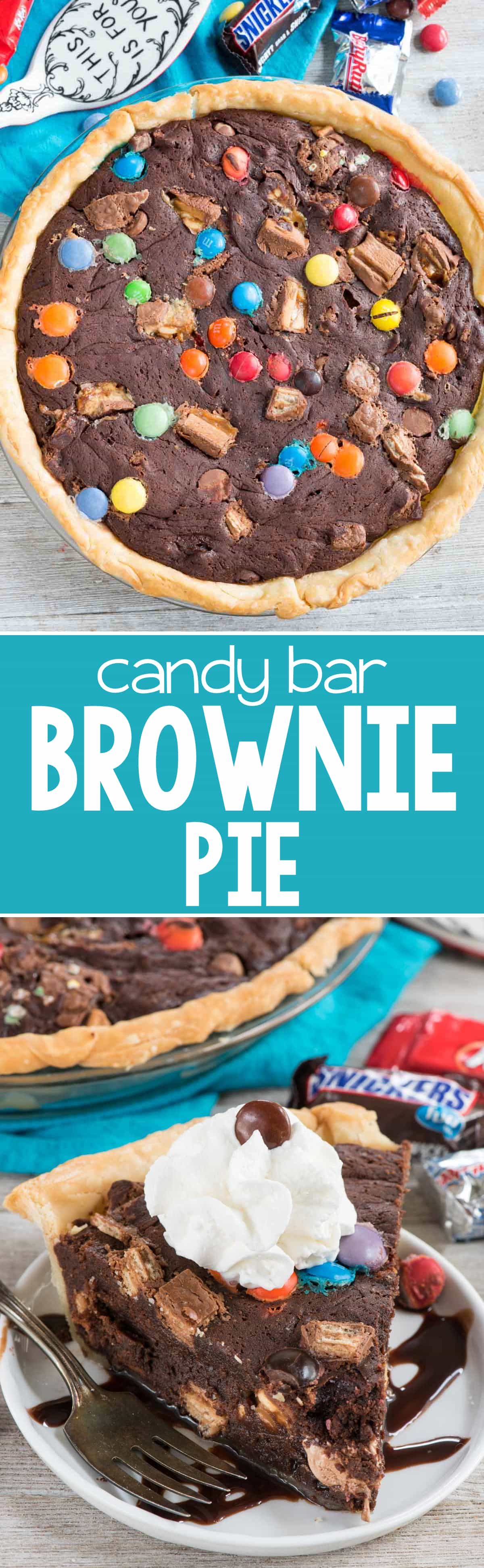Candy Bar Brownie Pie - this easy brownie pie recipe uses my favorite brownie recipe and is FULL of candy! Clean out your pantry and use all the candy to make this pie!