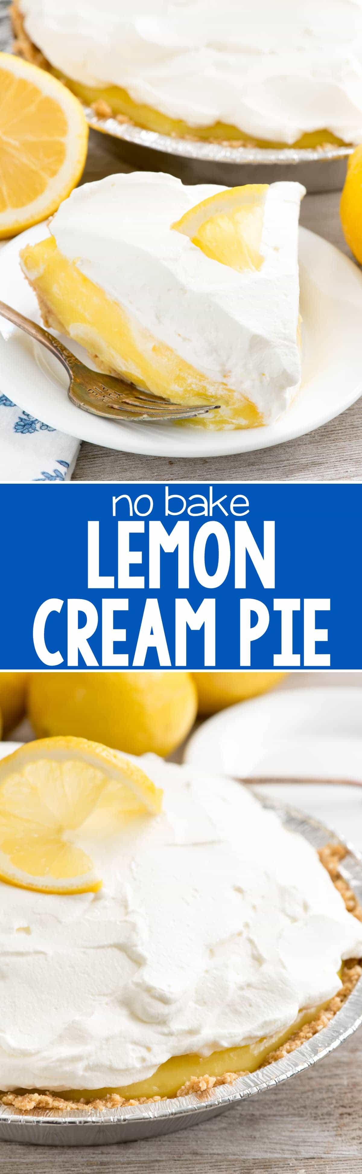 No Bake Lemon Cream Pie - Crazy for Crust