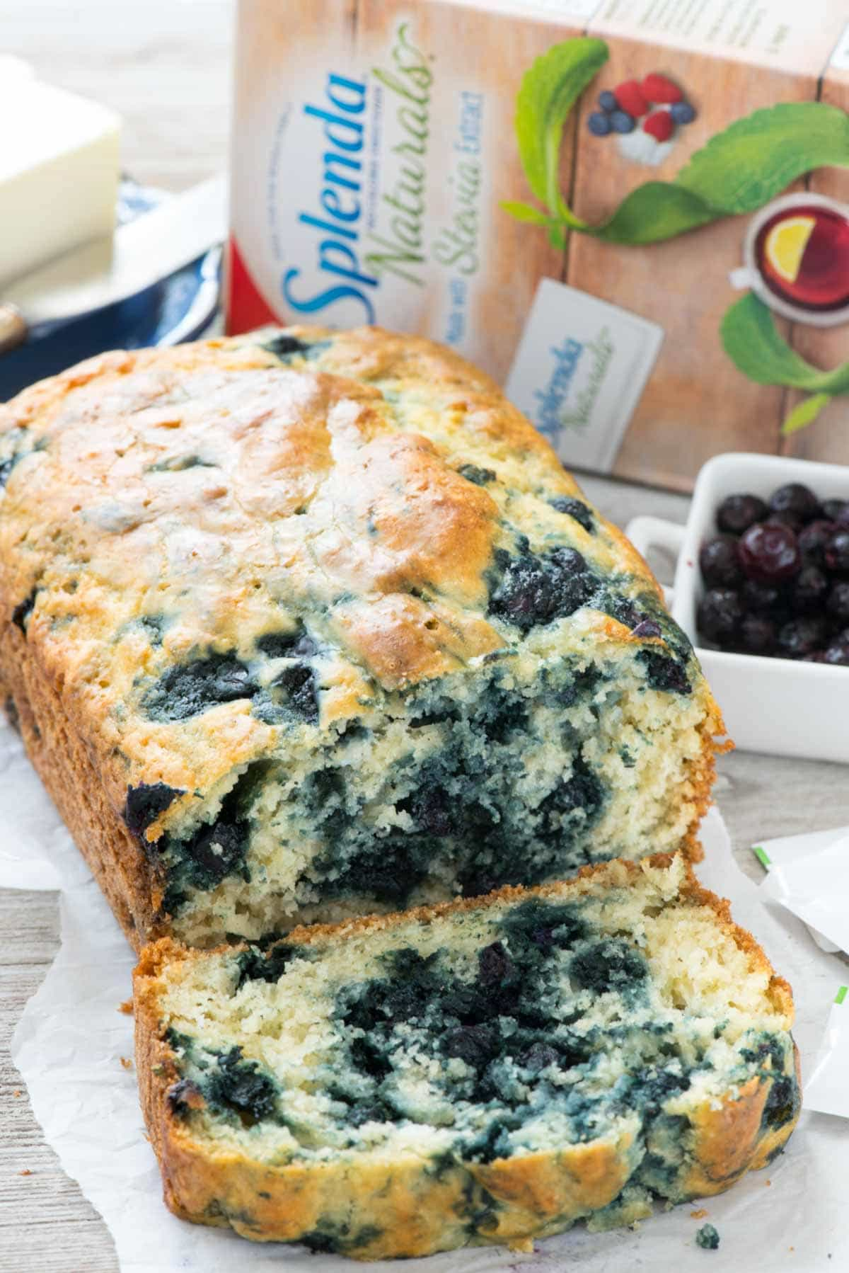 Blueberry Quick Bread - an easy blueberry bread recipe made sugar free with Splenda Naturals