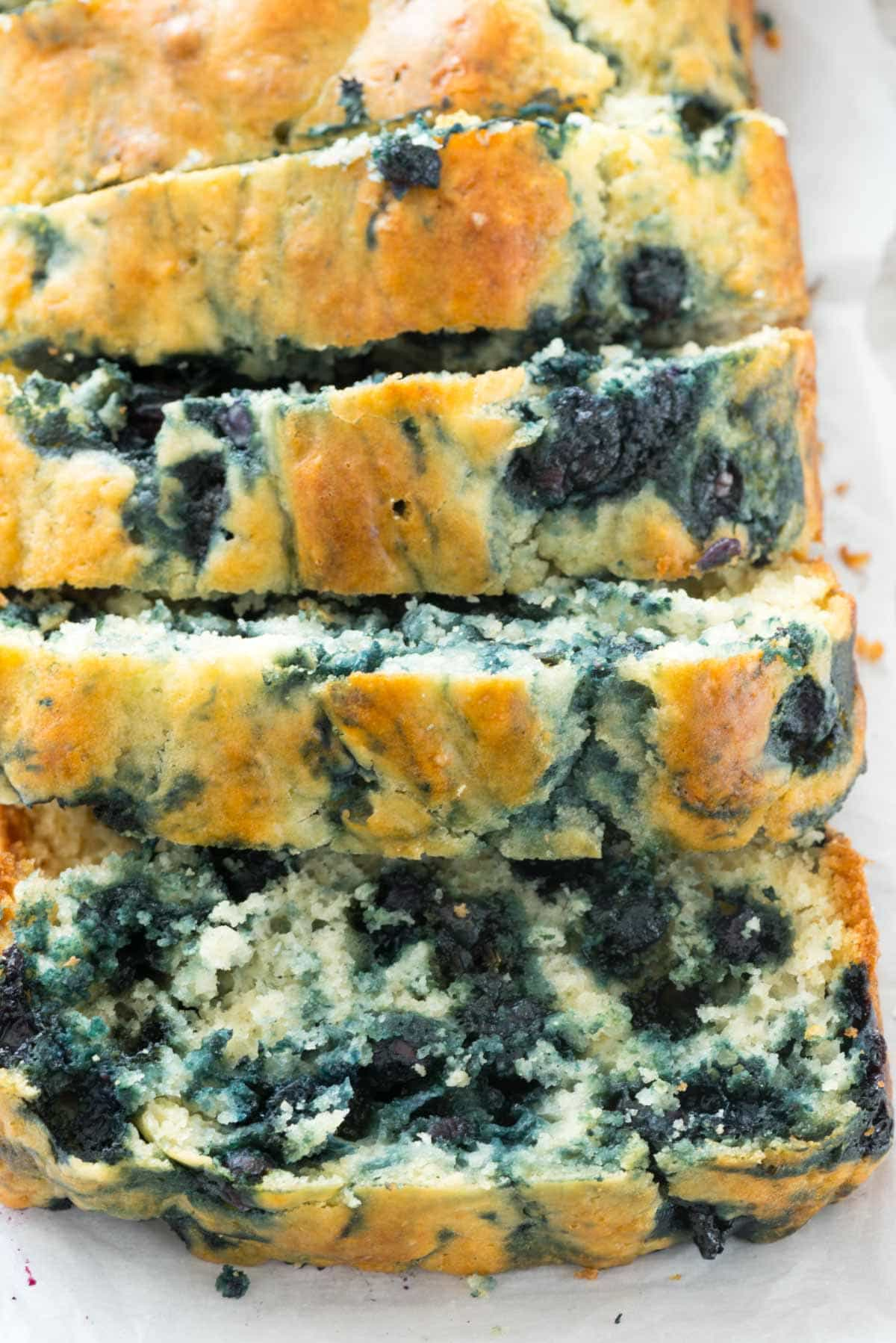 Blueberry Quick Bread - this easy bread recipe is full of blueberries and is sugar-free! It's the perfect breakfast; like a blueberry muffin but bread!