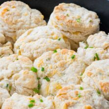 Pan filled with Cheddar Chive Biscuits