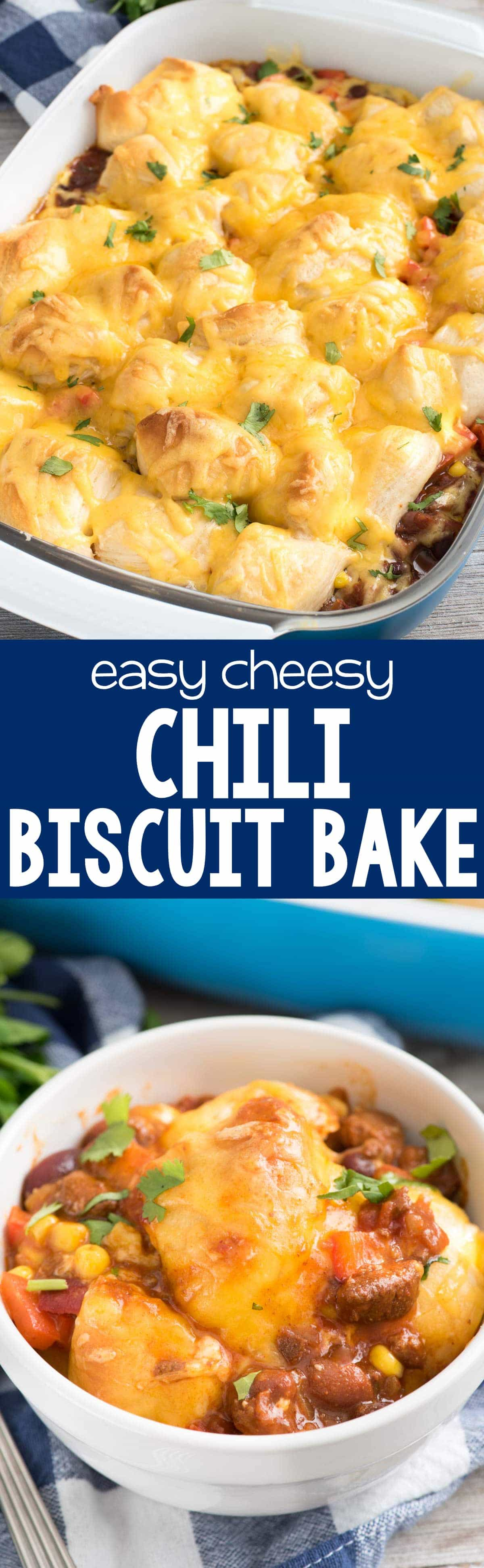 Easy Cheesy Chili Bake - this easy weeknight dinner recipe has just 5 ingredients! Chili is topped with vegetables, biscuits, and cheese and bakes up for a delicious meal.