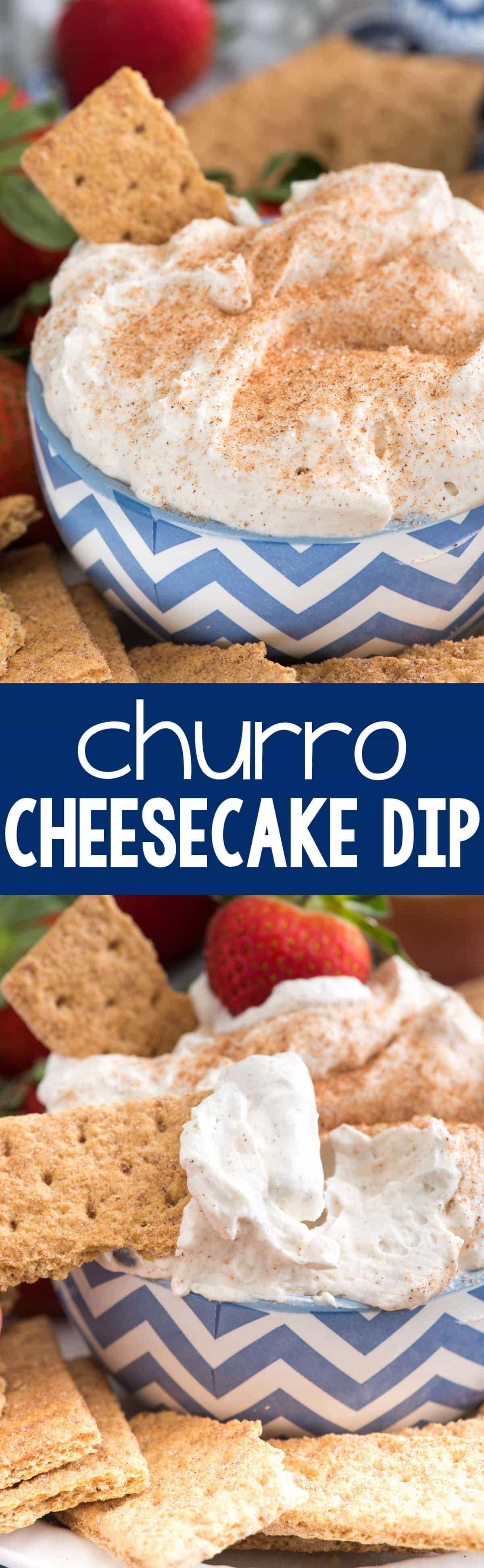 Churro Cheesecake Dip - an easy way to make no-bake cheesecake dip full of cinnamon sugar churro flavor! This is the perfect party dip or an easy dessert recipe.