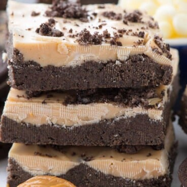 Stack of No Bake Peanut Butter Oreo Bars