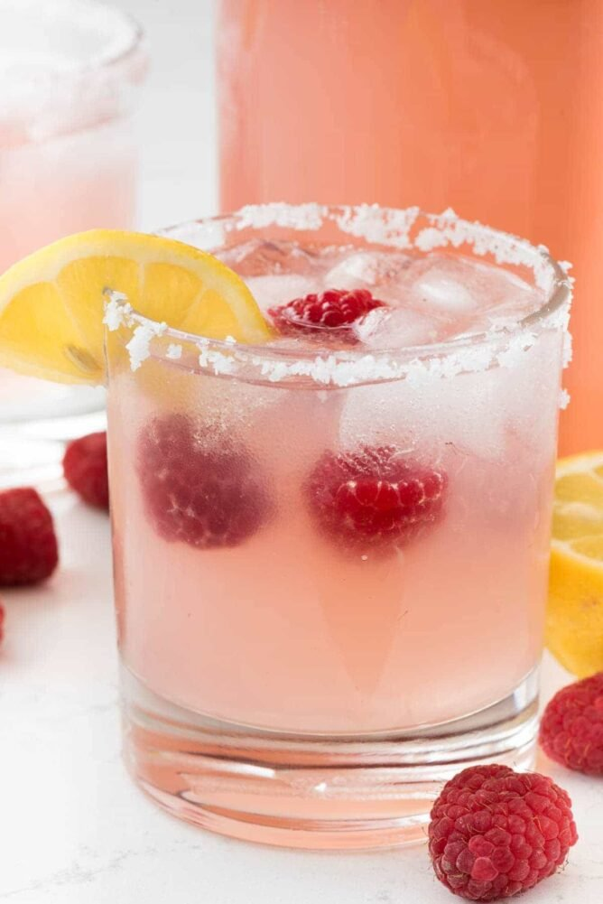 Raspberry Lemonade Margarita -in a small cocktail glass