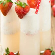 Four Strawberry Shortcake Mimosa in champagne glasses