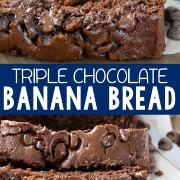 Collage of Triple Chocolate Banana Bread