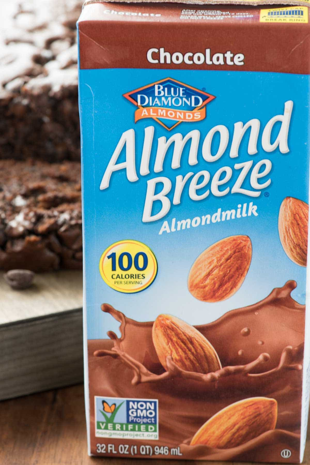 Carton of Chocolate Almond Breeze brand almondmilk