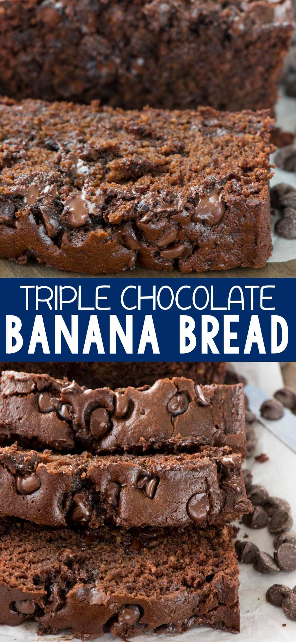 photo collage - Sliced Triple Chocolate Banana Bread