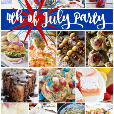 A Collage of 16 pictures of 4th of July party food
