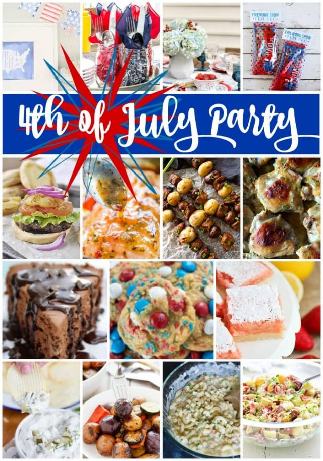 The ULTIMATE 4th of July Party Menu! From appetizers to salads, burgers and desserts, this 4th of July meal plan has everything you need to celebrate Independence Day, plus printables and decor ideas!