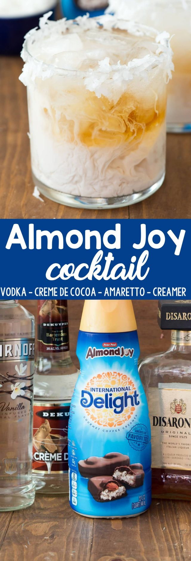 photo collage - Almond Joy Cocktail with a bottle of International Delight Almond Joy Creamer.