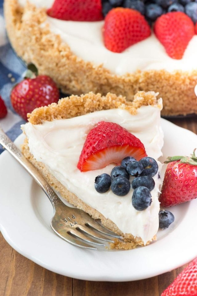 Slice of cheesecake topped with strawberries and blueberries served on a white plate.