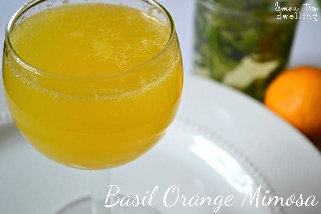 Wine glass of Basil Orange Mimosa on a white plate.