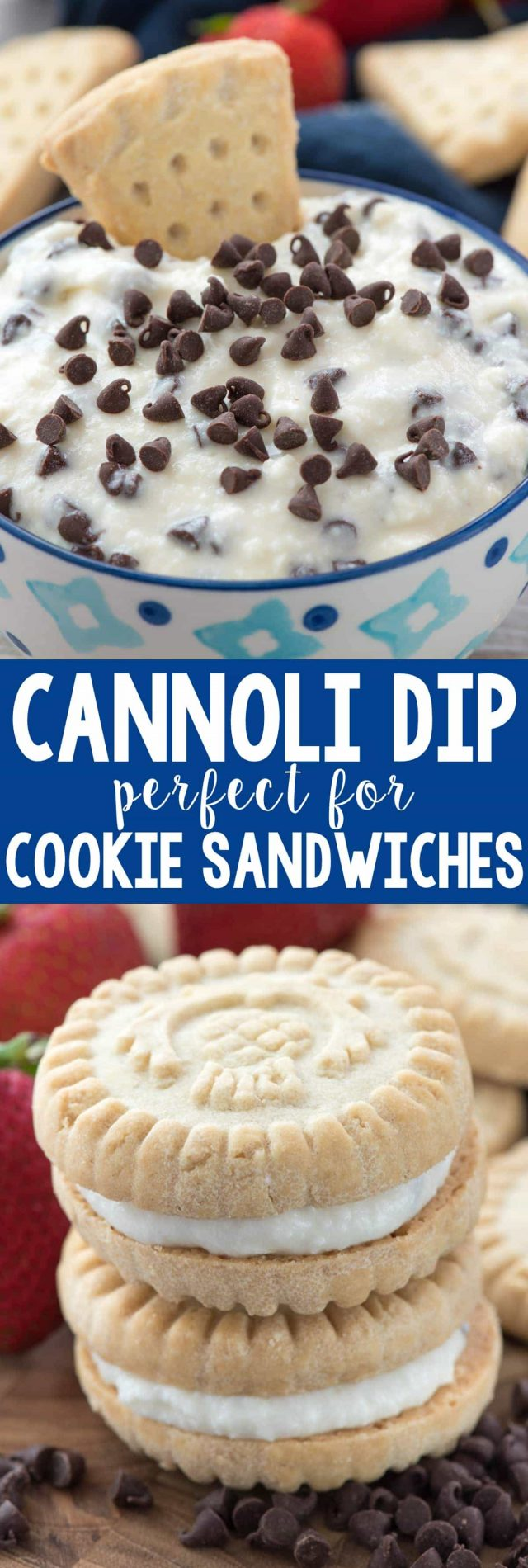 Cannoli Cream Dip - this easy dip recipe tastes just like the inside of a cannoli! Dip cookies in it or use it as a sandwich cookie filling. It's the perfect no bake summer recipe!