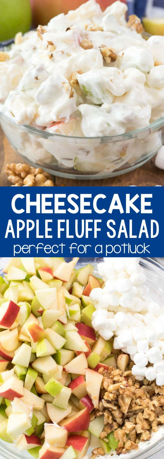 Cheesecake Apple Salad - this easy no bake dessert salad recipe combines apple salad and cheesecake fluff! Apples are mixed with marshmallows, nuts, and a no-bake cheesecake for the perfect party side dish.