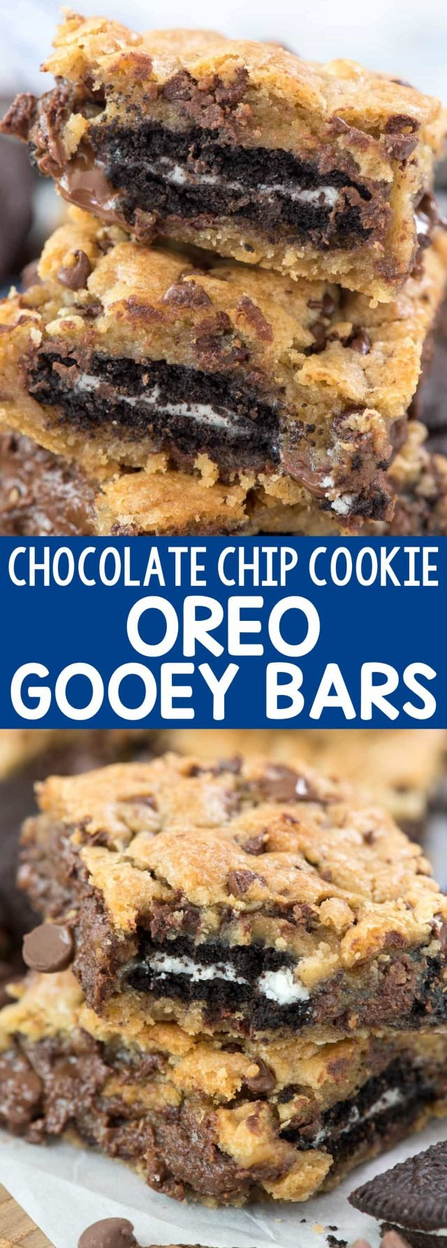 Oreo Stuffed Chocolate Chip Cookie Gooey Bars - my FAVORITE Chocolate Chip Cookie Gooey Bars STUFFED WITH OREOS! These are the BEST cookie bar ever.