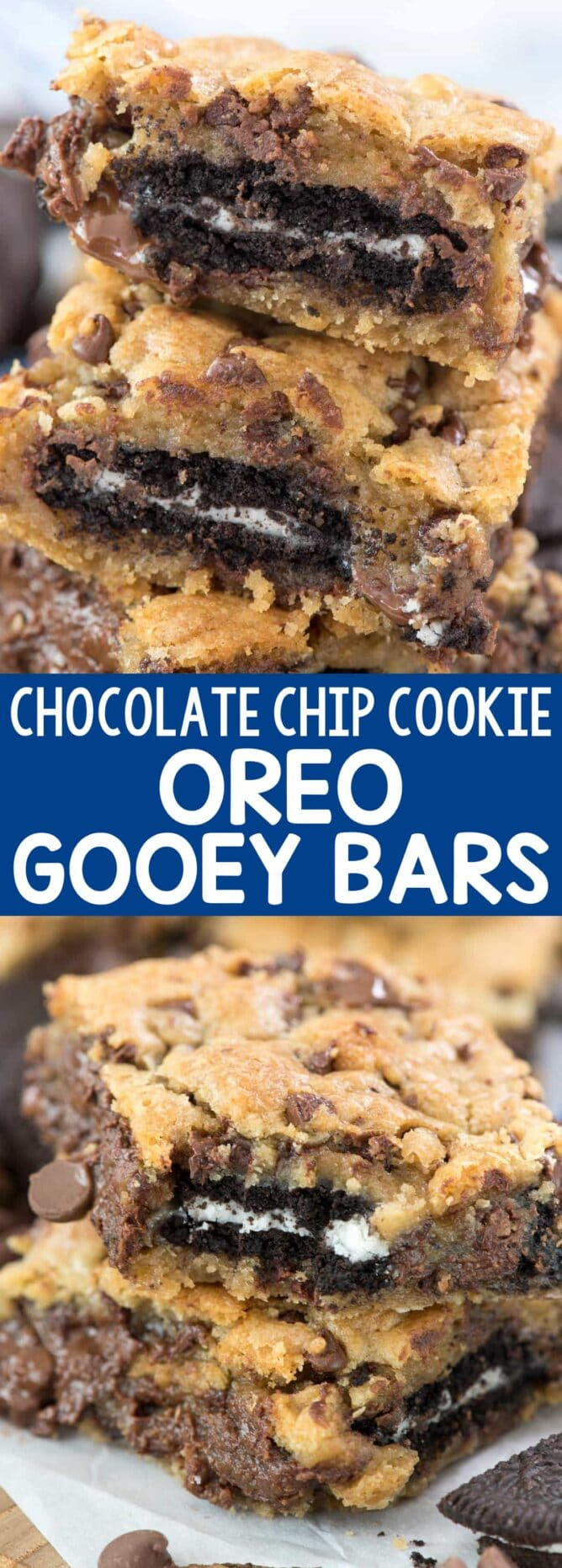 Oreo Stuffed Chocolate Chip Cookie Gooey Bars - collage photo