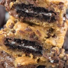 Stack of Chocolate Chip Oreo Cookie Gooey Bars