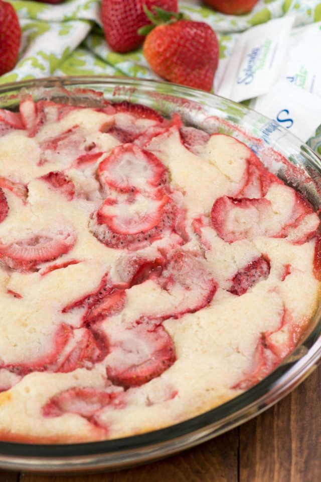 Easy Strawberry Cobbler - a simple cobbler recipe that combines fresh fruit with a delicious batter on top!