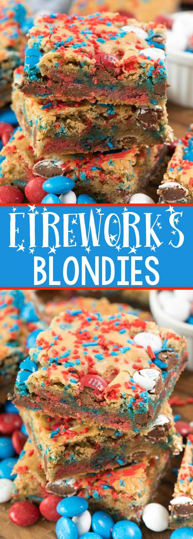 Fireworks Blondies - this EASY blondie recipe is the BEST EVER COOKIE BAR! It's so soft and perfect with any additions, but especially with 4th of July M&Ms and sprinkles!