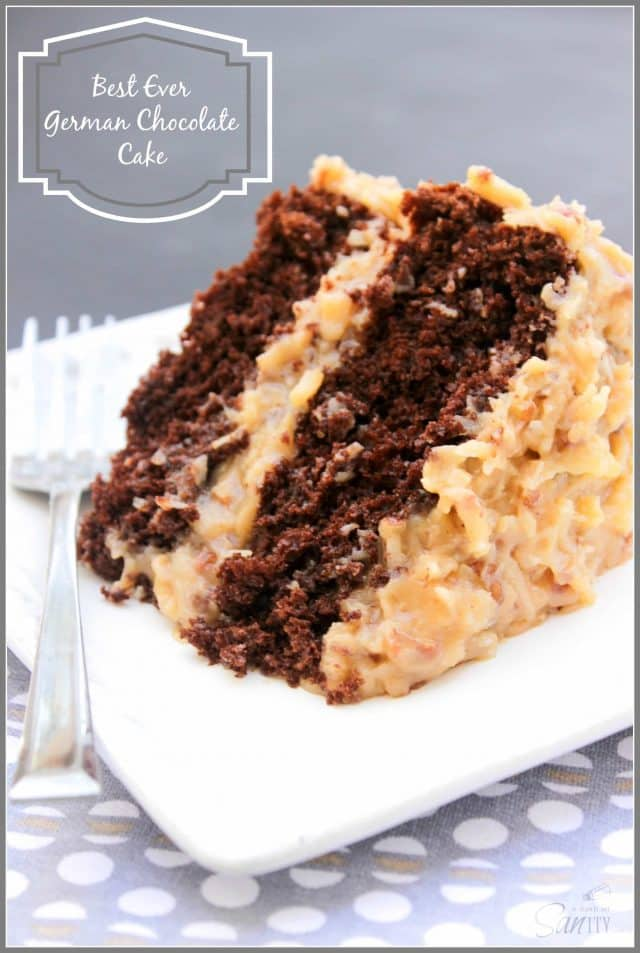 Slice of German Chocolate Cake on white serving plate.