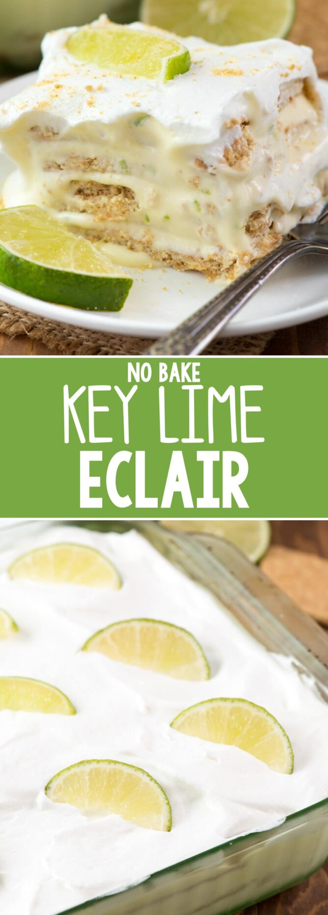 No Bake Key Lime Eclair on a white plate with fork and slices of lime collage photo