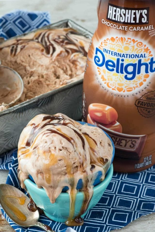 No Churn Easy Chocolate Caramel Ice Cream with International Delight