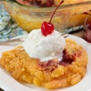 Pineapple Upside Down Dump Cake on a white plate