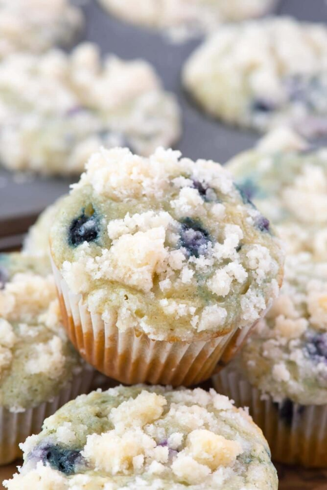 Starbucks Copycat Blueberry Muffin sitting in a stack