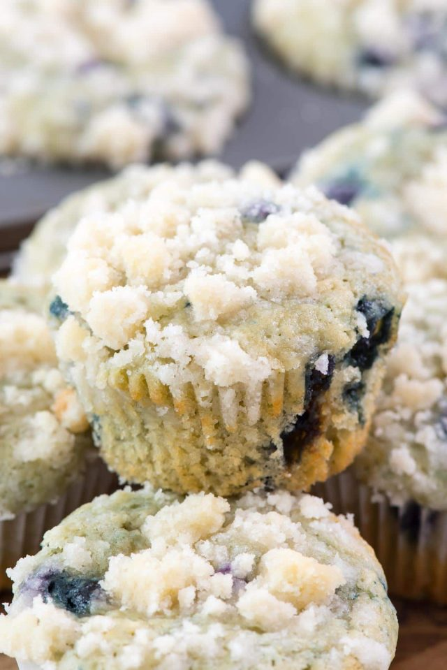 Starbucks Copycat Blueberry Muffins - this EASY blueberry muffin recipe is better than Starbucks and has a delicious streusel on top!