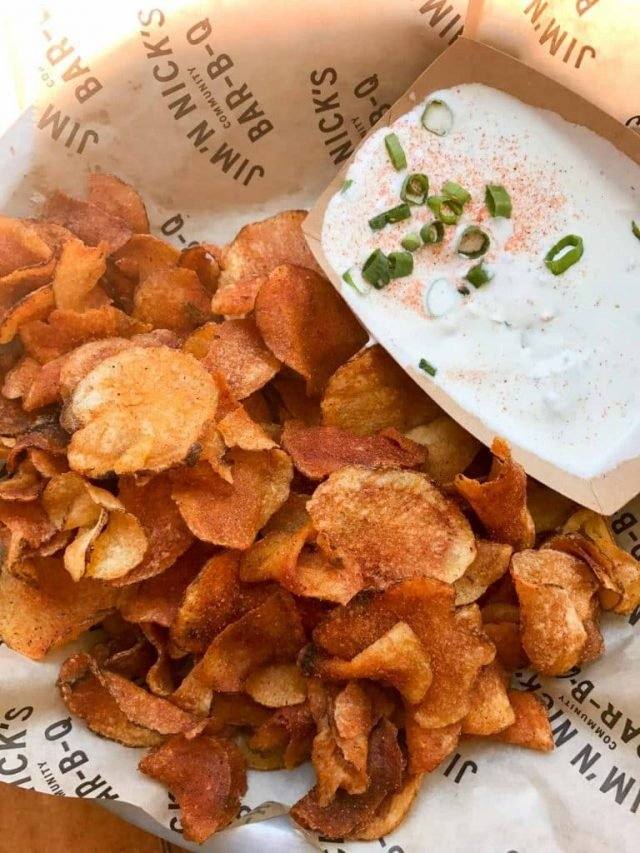 Barbecue Chips with Blue Cheese Dressing from Jim 'n Nick's - one of the best places to eat in Charleston, SC