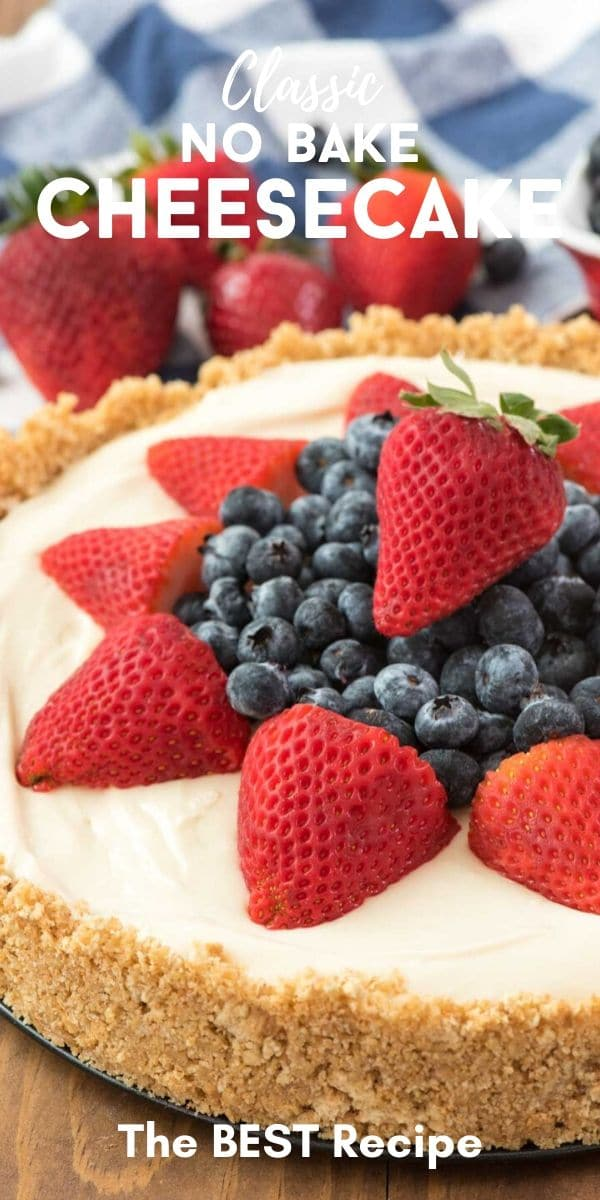 cheesecake with blueberries and strawberries on top with words on photo