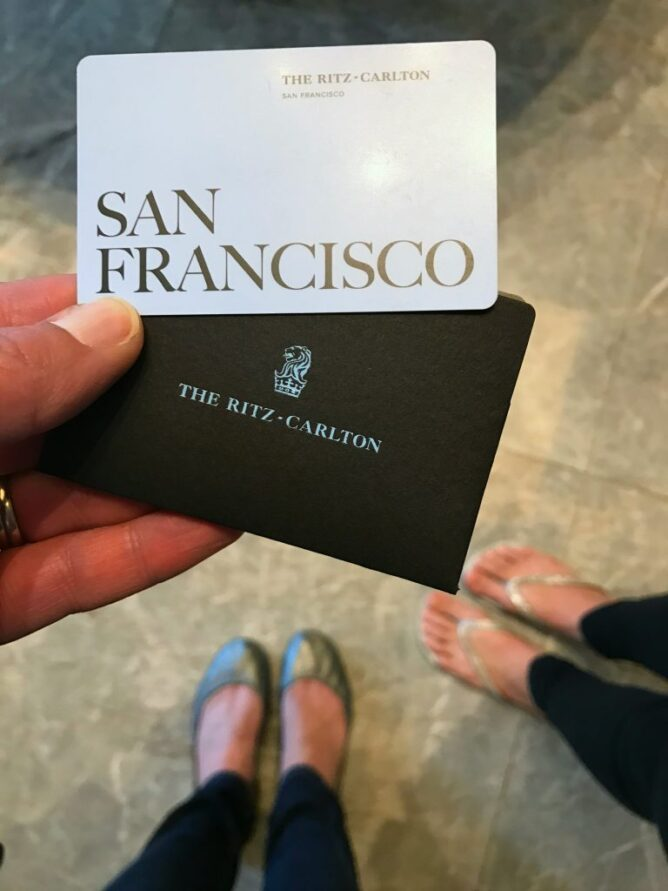 keycard for the ritz carlton san francisco with feet below it