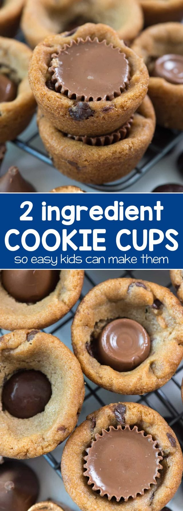 EASY 2 ingredient cookie cups! Use your favorite cookie dough recipe or packaged dough to make an easy treat everyone loves. Add your favorite candy for a fun surprise!