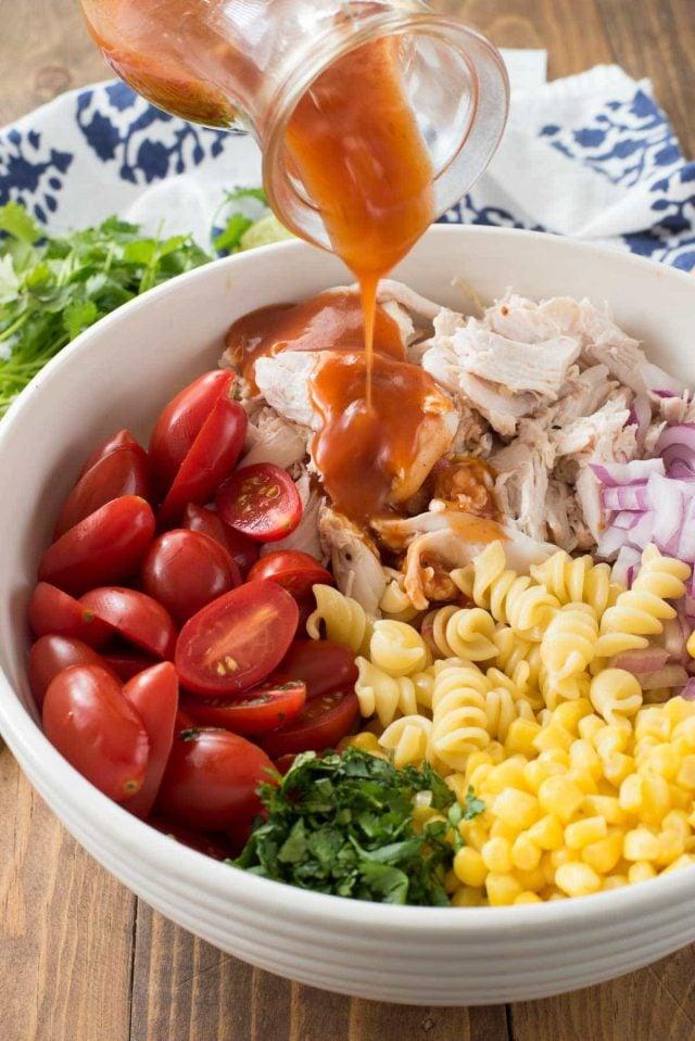 Easy BBQ Chicken Pasta Salad with a BBQ sauce vinaigrette!