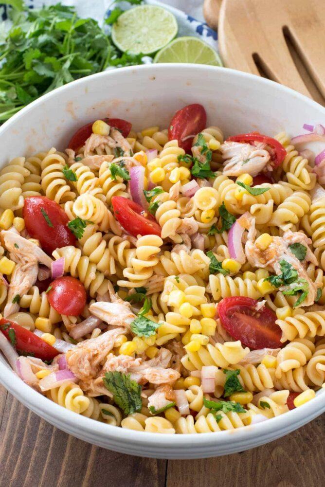 BBQ Chicken Pasta Salad in a white bowl