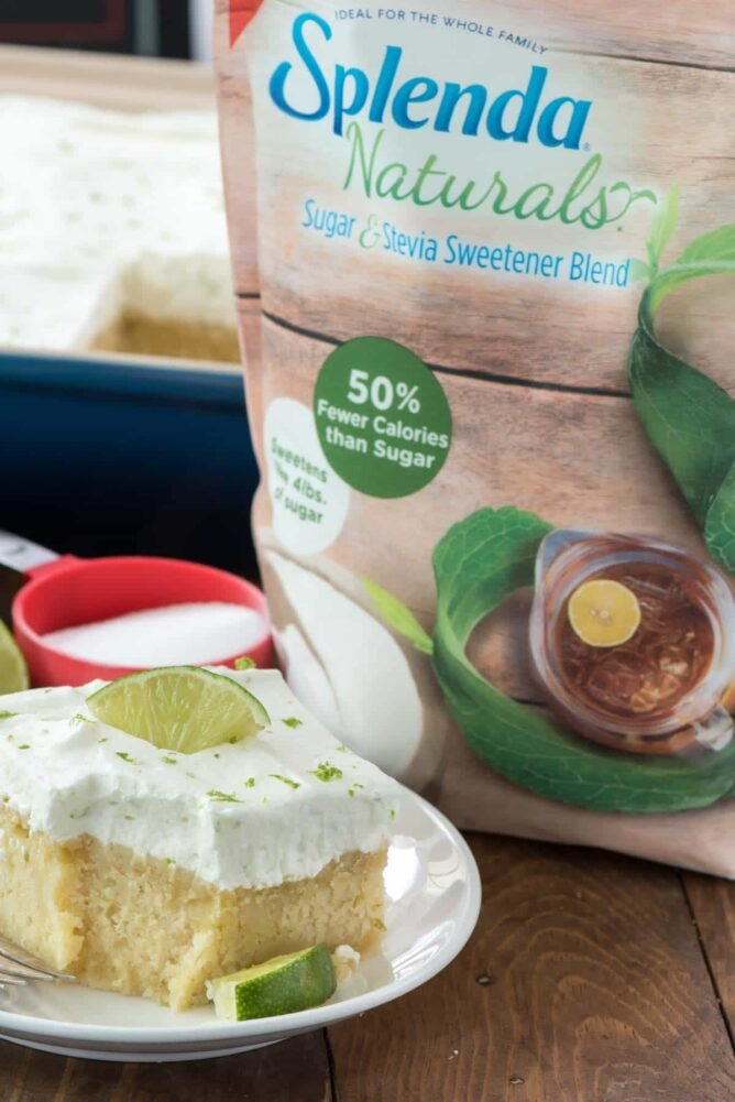 Key Lime Cake on white plate made with Splenda Naturals bag behind