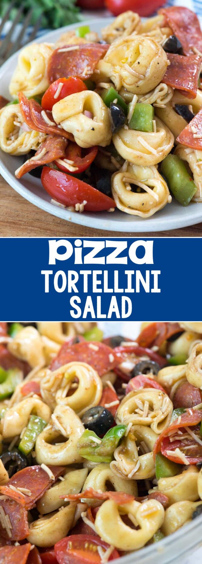 Pizza Tortellini Salad - collage photo of salad on plate and in bowl with tortellini and pepperoni