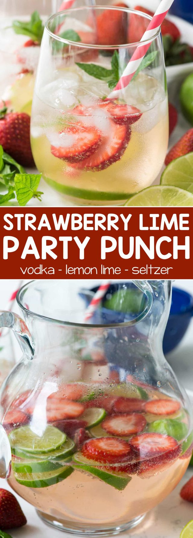 Strawberry Lime Party Punch - this easy cocktail recipe has just 3 ingredients: strawberry vodka, lemon lime soda, and seltzer. The perfect refreshing party punch cocktail!